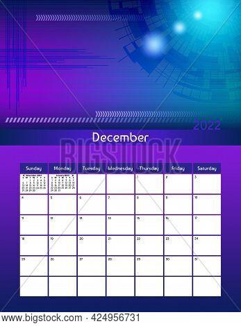 Us Letter Paper Size Vector Futuristic Monthly Planner Calendar December 2022 Week Starts On Sunday.