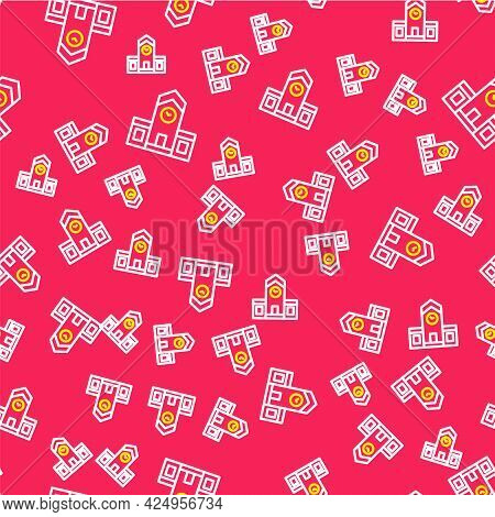 Line Railway Station Icon Isolated Seamless Pattern On Red Background. Vector