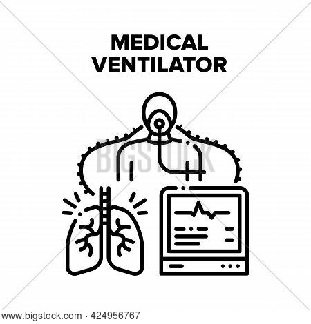 Medical Ventilator Equipment Vector Icon Concept. Medical Ventilator Equipment For Help Patient Brea