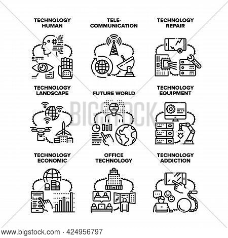 Technology Human Set Icons Vector Illustrations. Technology Equipment Repair And Addiction, Economic