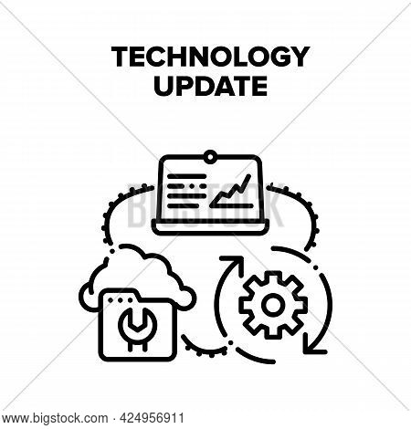 Technology System Update Vector Icon Concept. Laptop Computer And Cloud Technology System Update. In