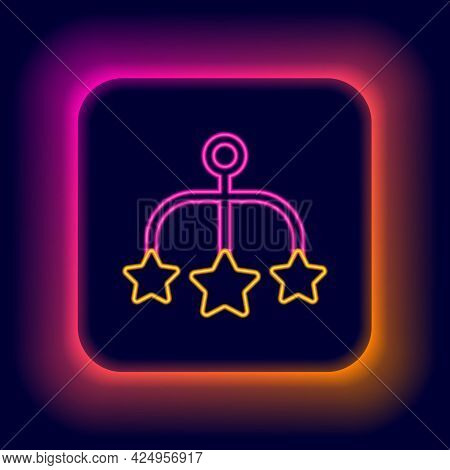 Glowing Neon Line Baby Crib Hanging Toys Icon Isolated On Black Background. Baby Bed Carousel. Color