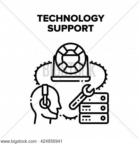 Technology Support Assist Vector Icon Concept. Online Technology Support Assist For Remote Repair De