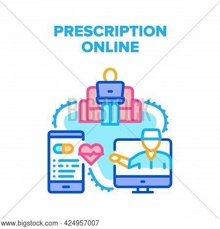 Prescription Online Medical Vector Icon Concept. Doctor Examining And Consulting Patient, Medicament