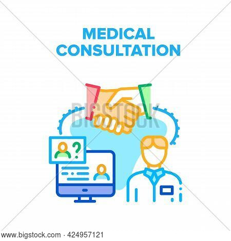 Medical Consultation Advise Vector Icon Concept. Doctor Examination, Diagnosis And Medical Consultat