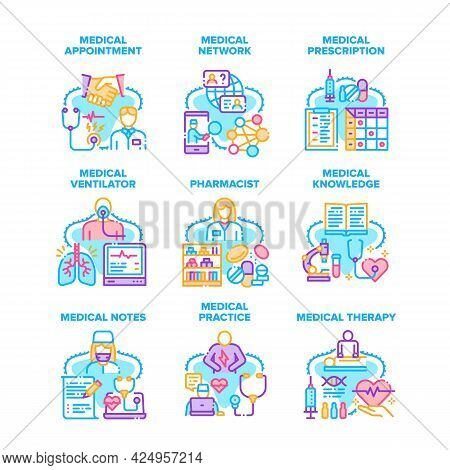 Medical Practice Set Icons Vector Illustrations. Doctor Medical Practice And Therapy, Pharmacist Kno