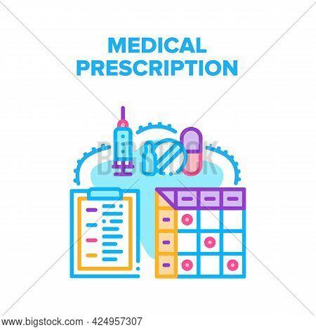 Medical Pills Prescription Vector Icon Concept. Doctor Physician Writing Diagnosis And Giving Medica