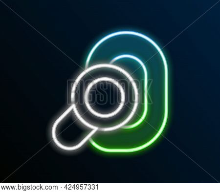 Glowing Neon Line Hearing Aid Icon Isolated On Black Background. Hearing And Ear. Colorful Outline C