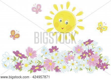 Happily Smiling Yellow Sun And Merry Butterflies Flittering Over Colorful Summer Flowers, Vector Car