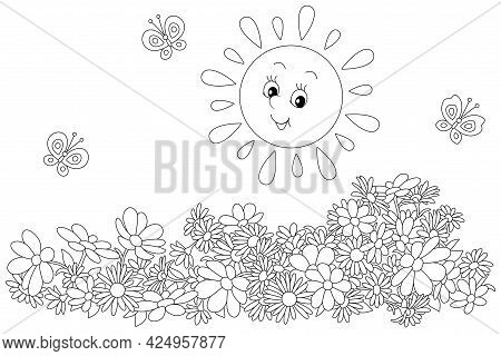 Happily Smiling Little Sun And Merry Butterflies Flittering Over Summer Garden Flowers, Black And Wh