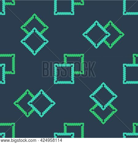 Line Textile Fabric Roll Icon Isolated Seamless Pattern On Blue Background. Roll, Mat, Rug, Cloth, C