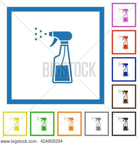 Spray Bottle Flat Color Icons In Square Frames On White Background