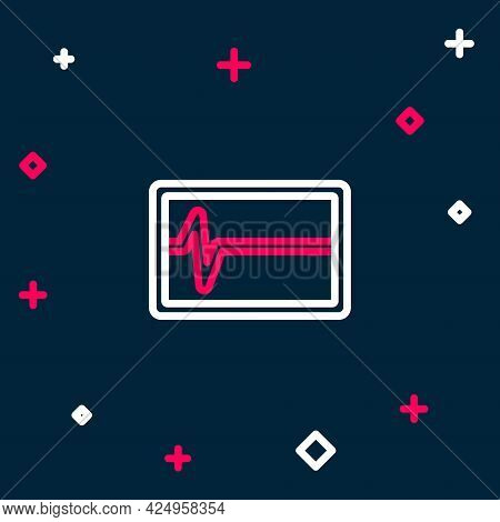 Line Beat Dead In Monitor Icon Isolated On Blue Background. Ecg Showing Death. Colorful Outline Conc