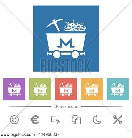 Monero Cryptocurrency Mining With Treasure Flat White Icons In Square Backgrounds. 6 Bonus Icons Inc