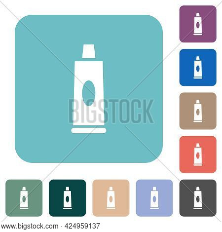 Toothpaste Tube White Flat Icons On Color Rounded Square Backgrounds