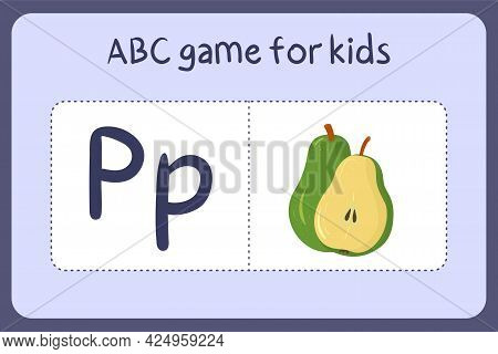 Kid Alphabet Mini Games In Cartoon Style With Letter P - Pear . Vector Illustration For Game Design
