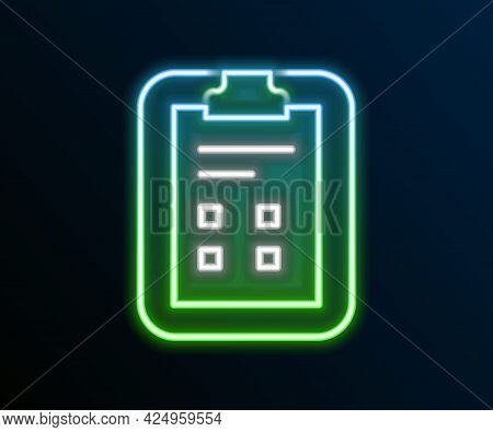 Glowing Neon Line Exam Sheet With Check Mark Icon Isolated On Black Background. Test Paper, Exam, Or