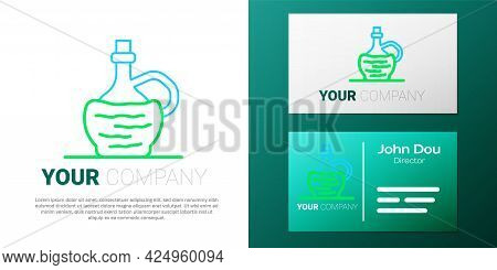 Line Wine In Italian Fiasco Bottle Icon Isolated On White Background. Wine Bottle In A Rattan Stand.