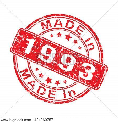 An Imprint Of A Seal Or Stamp With The Inscription Made In 1993. Editable Vector Illustration. Label