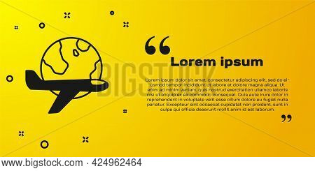 Black Globe With Flying Plane Icon Isolated On Yellow Background. Airplane Fly Around The Planet Ear