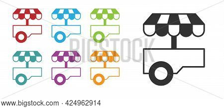 Black Fast Street Food Cart With Awning Icon Isolated On White Background. Urban Kiosk. Set Icons Co