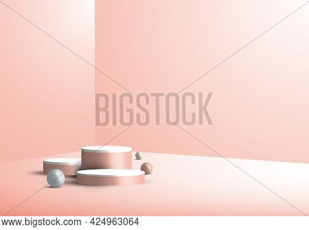 3d Studio Room Showcase Display Geometric Beige Cylinder Pedestal, Round Minimal Pink Scene Backgrou