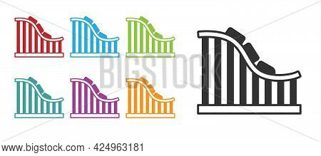 Black Roller Coaster Icon Isolated On White Background. Amusement Park. Childrens Entertainment Play
