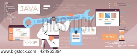 Arab Man Programmer Holding Wrench Developer Optimizes Software Engineering Coding Programming Testi