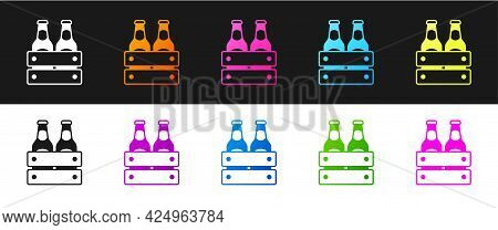 Set Pack Of Beer Bottles Icon Isolated On Black And White Background. Wooden Box And Beer Bottles. C