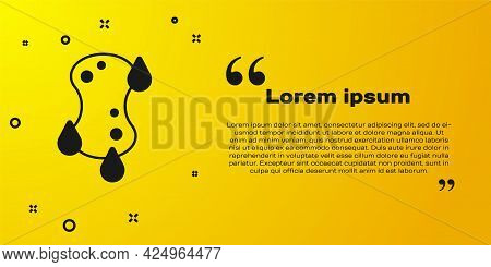 Black Sponge Icon Isolated On Yellow Background. Wisp Of Bast For Washing Dishes. Cleaning Service L