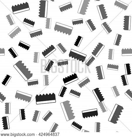 Black Sponge Icon Isolated Seamless Pattern On White Background. Wisp Of Bast For Washing Dishes. Cl