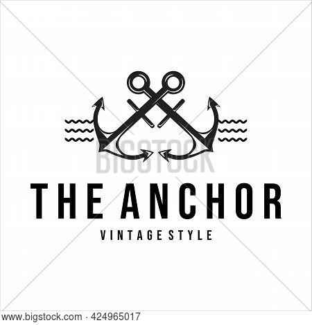 Anchor Ship Logo Vintage Vector Icon Symbol Illustration Template Design. Anchor Retro Icon Emblem F