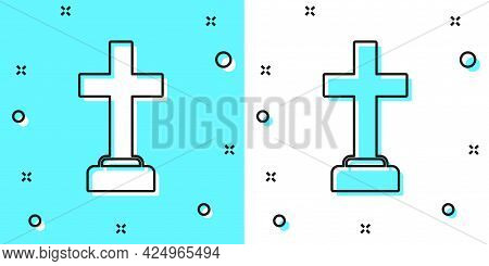 Black Line Man Graves Funeral Sorrow Icon Isolated On Green And White Background. The Emotion Of Gri