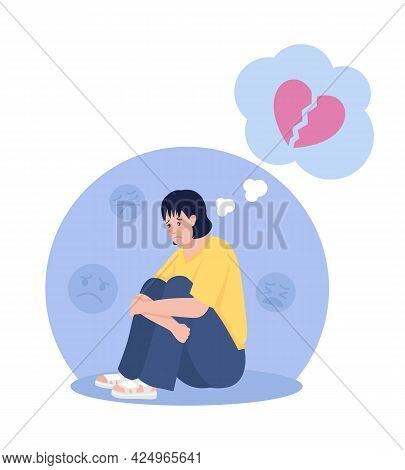 Sad Lonely Teenager Thinking Of Breakup 2d Vector Isolated Illustration. Girl Sitting In Chair Upset