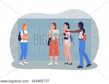 Bullying At School 2d Vector Isolated Illustration. Sad Student Being Harassed. Mean Classmates With