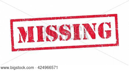 Vector Illustration Of The Word Missing In Red Ink Stamps
