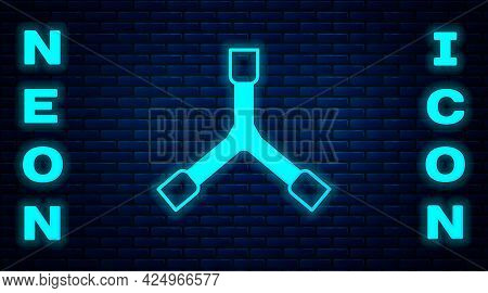 Glowing Neon Skateboard Y-tool Icon Isolated On Brick Wall Background. Vector