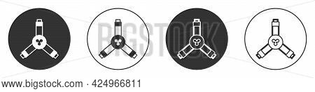 Black Skateboard Y-tool Icon Isolated On White Background. Circle Button. Vector