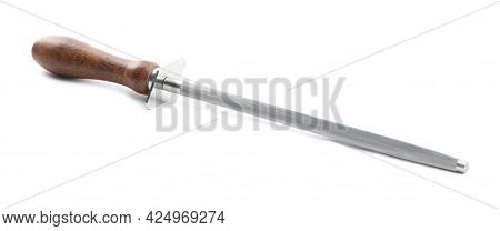 Sharpening Steel With Wooden Handle Isolated On White