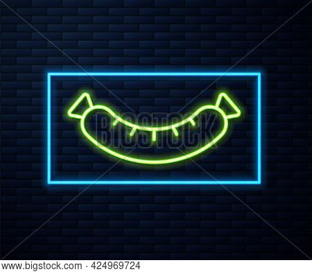 Glowing Neon Line Sausage Icon Isolated On Brick Wall Background. Grilled Sausage And Aroma Sign. Ve
