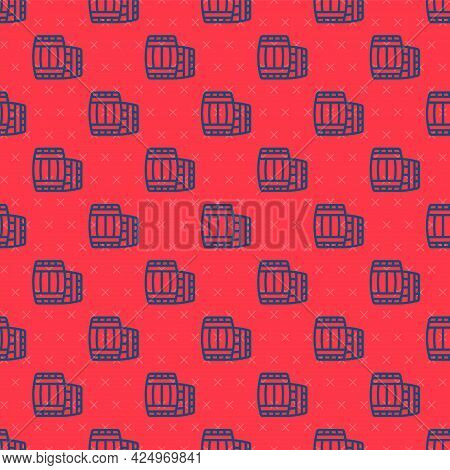 Blue Line Wooden Barrel Icon Isolated Seamless Pattern On Red Background. Alcohol Barrel, Drink Cont
