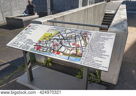 Mainz, Germany - June 1, 2013: Tactile City Map Of Mainz At The Old Town As Service For Handicapped