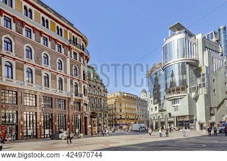 Vienna, Austria - April 25, 2015:  Tourists Walk Through One Of The Most Famous Pedestrian Streets G