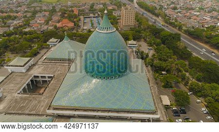 Aerial View Mosque In Indonesia Al Akbar In Surabaya, Indonesia. Beautiful Mosque With Minarets On I