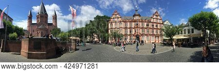 Mainz, Germany - July 15, 2016: People Visit Market Square In Mainz With Famous Dome And Gutenberg M