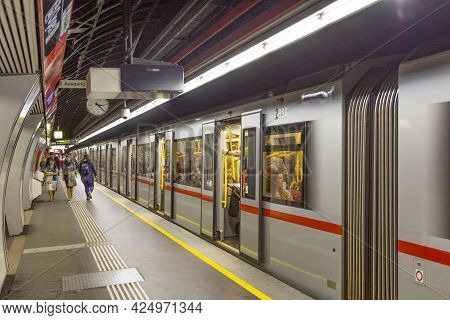 Vienna, Austria - April 24, 2015:  People Hurry In Metro Station In Vienna. With 534m Annual Passeng