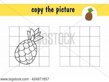 Children S Mini-game Draw A Pineapple On Paper. Copy The Fruit Picture Using Grid Lines, Simple Todd