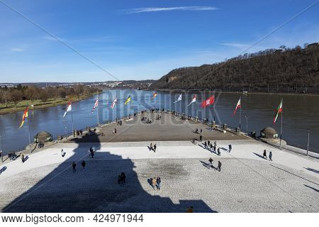 Koblenz, Germany - February 14, 2021: View Of Deutsches Eck / German Corner: The Name Of A Headland