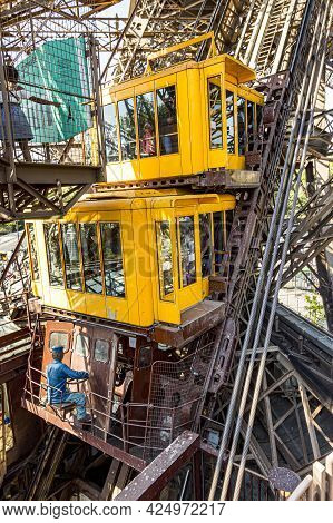 Paris, France - June 10, 2015:  People In The Lift At The Southern Tower Of The Eiffel Tower In Pari