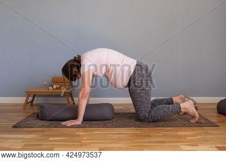 Prenatal Yoga Meditation. Pregnant Woman Doing Yoga Meditation At Home